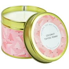 coconut toffee penny christmas tree tin candle scented candles