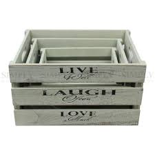 wooden storage flower boxes crate vintage box shabby chic chest old in