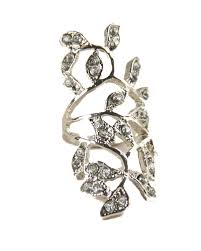 long silver rings images Romantic greek goddess sparkling rhinestone stainless steel long jpg