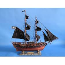 handcrafted nautical decor wooden caribbean pirate ship model