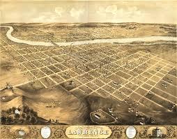 Ks Map Birdseye View Of Lawrence Kansas 1869