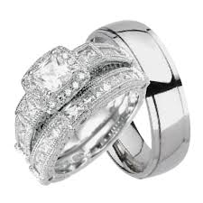 his hers 3 sterling silver black titanium cheap wedding