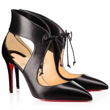 christian louboutin black ferme rouge 85 leather lace up heel