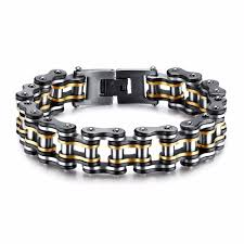 stainless steel black bracelet images 316l stainless steel quot black gold quot bracelet blown biker jpg