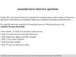 Sample Nicu Nurse Resume by Neonatal Nurse Interview Questions
