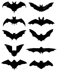 black silhouettes of different bats illustration royalty free