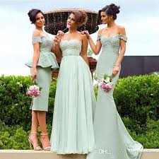 mixed styles mermaid off shoulder bridesmaid dresses country