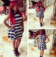 Kandi Burruss Bedroom Kandi Kandi Burruss In Blue U0026 White Striped Anise Dress Photo