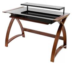idabel dark brown wood modern desk with glass top small and cheap wooden computer desk with silver iron frames and