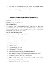 Housekeeping Job Description For Resume by Attendant Job Description For Resume