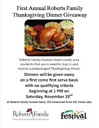 thanksgiving dinner giveaway forest lake minnesota funeral home