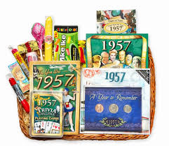 60th anniversary gift anniversary or birthday gift basket for 1957