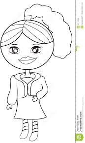 in a dress with a coat coloring page stock illustration