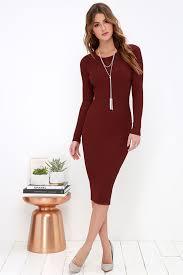 maroon sweater dress cozy burgundy dress sweater dress midi dress bodycon dress
