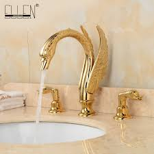 aliexpress com buy soild brass gold finish faucet bathroom aliexpress com buy soild brass gold finish faucet bathroom golden swan faucets double handle three hole wash basin tap mixer from reliable tap mixer