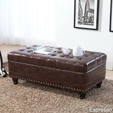 Leather Storage Bench Seat Living Room Stylish Ottoman Faux Leather Storage Bench Brown White