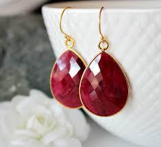 ruby drop earrings large raspberry ruby earrings ruby drop earrings