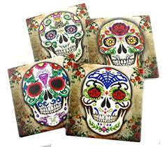 amazon com sugar skull spirit coaster set of 4 coasters