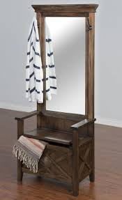 hall trees with storage bench mirror bench decoration