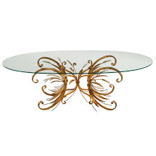 french brass and silver wheat sheaf coffee table with oval glass
