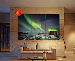 Large Artwork For Living Room Northern Lights Large Canvas Wall Art Decor Print Northern Lights