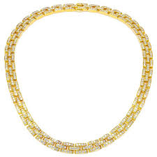 cartier yellow gold necklace images Cartier 18k yellow gold and diamond panther necklace for sale at jpg