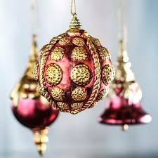 vintage inspired burgundy and gold ornaments