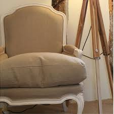 French Linen Armchair French Style Linen Armchair Comfy French Style Chair Candle And Blue