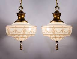 Pendant Lighting With Matching Chandelier Two Matching Antique Lightolier Pendant Lights Pewter U0026 Brass