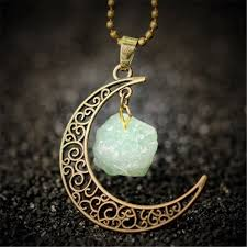necklace with stone pendant images Vintage moon necklace irregular natural stone quartz pendant jpg