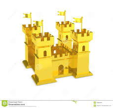 fortress miniature silver castle isolated stock photo image