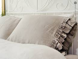 linen pillow sham with ruffles housewife softened linen