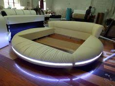 off white modern round sofa with comfortable material furniture