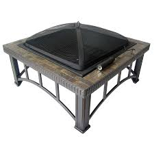 Firepit Lowes Shop Garden Treasures 30 Black Steel Wood Burning Pit At