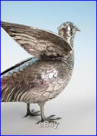 pair german silver figural pheasant salt pepper shakers pot 800