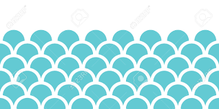 Blue Pattern Background Vector Abstract Blue Fishscale Horizontal Seamless Pattern