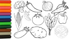 vegetables coloring pages for kids tomato potato corn broccoli