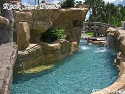 Backyard Pool With Lazy River Rockstar Waterfalls Water Features Caves Slides