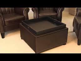 silvio tray top bonded leather storage ottoman youtube