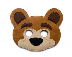Brown Bear Halloween Costume Grizzly Bear Mask Felt Mask Adults Woodland Animal Mask