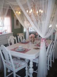 Shabby Chic White Curtains Living Room Dining Room Design Idea With Shabby Chic Decor Also