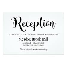 wedding reception cards reception card black chalkboard charm zazzle