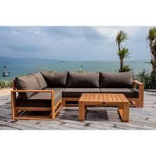 canapé teck jardin salon de jardin finlandek salon de jardin avec angle modulable en