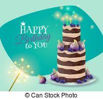 vectors illustration of birthday cake card on brown background