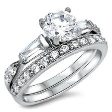 engagement and wedding ring set sterling silver cz 1 5 carat brilliant and baguette cut wedding