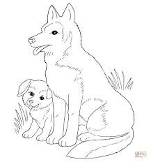 dog mother and puppy coloring page free printable coloring pages
