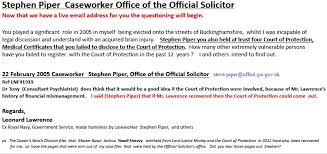 Bench Office Address Len Lawrence Email To Official Solicitors Office Cathy Fox Blog