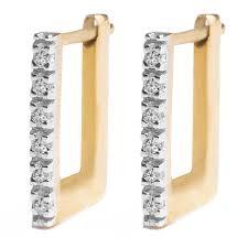 10k earrings 10k gold diamond square hoop earrings includes 12 diamonds