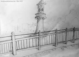 drawn lighthouse landscape pencil and in color drawn lighthouse