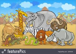 safari cartoon wildlife african safari wild animals cartoon stock illustration